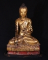 Large antique Burmese Buddha statue from Burma made from lacquer