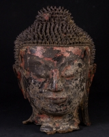 Antique Burmese Buddha head from Burma made from lacquer