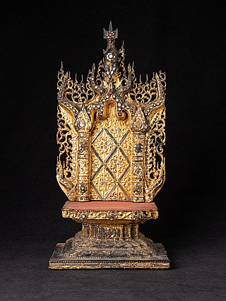 Old wooden Burmese throne